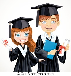 Cute brunette teenage girl and boy in cap and gown graduate holding a scroll diploma