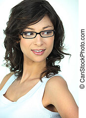 Cute brunette wearing glasses