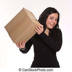 Cute brunette with box