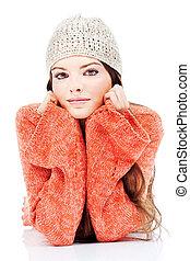 cute brunette woman in a sweater