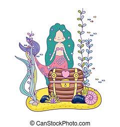 cute, brystkassen, skat, havfrue, undersea