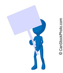 Cute Bue Silhouette Guy Holding A Blank Sign - Cute blue...