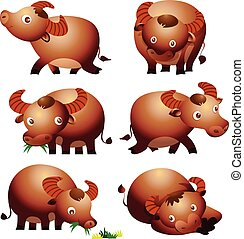 cute buffalo cartoon vectoe many actions