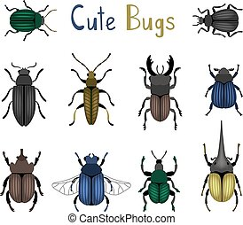 Cute bug icon set