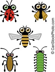 Cute Bug Vectors - Set of 5 cute insects for your design ...