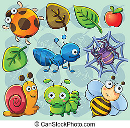 Cute Bugs - cartoon illustration of various cute bugs