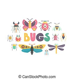 Cute Bugs - Vector bugs and insects poster design....
