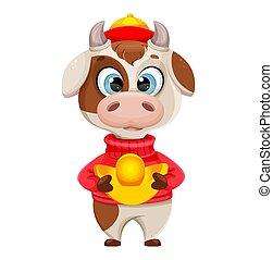 Cute bull cartoon character. Chinese New Year 2021