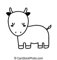 Cute bull cartoon line style icon vector design