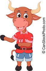 cute bull cartoon standing with smiling and waving