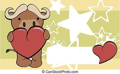 cute bull cartoon valentine