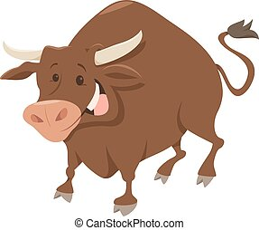 cute bull farm animal character