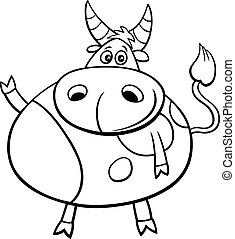 cute bull farm animal comic character coloring book page