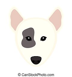 Cute Bull Terrier dog avatar. Vector illustration design