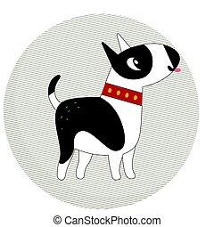Cute bull terrier dog in a circle