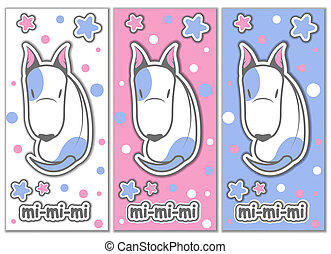 Cute bull terrier with stars