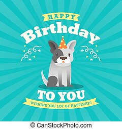 Cute bulldog Cartoon Birthday card design