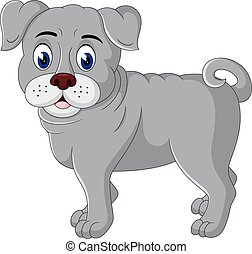cute  bulldog cartoon