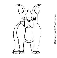cute bulldog isolated icon