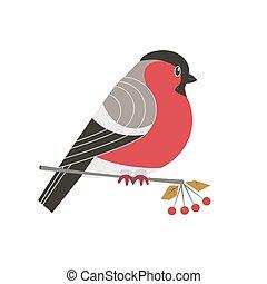 Cute Bullfinch bird icon. Freehand cartoon comic style. ...