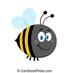 cute, bumble, karakter, bi, smil, cartoon