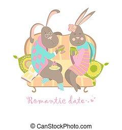 Cute bunnies in love