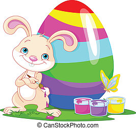Cute Bunny and Easter Egg - Illustration of an Easter Bunny...