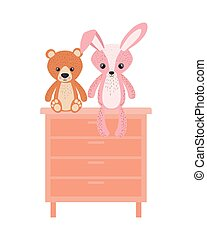 cute bunny and teddy bear in shelving
