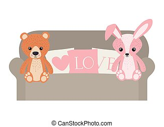 cute bunny and teddy bear in sofa