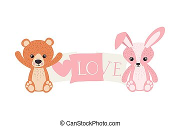cute bunny and teddy bear