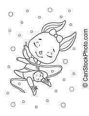 Cute Bunny Ballerina Coloring page