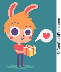 Cute Bunny Boy Holding a Present