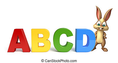 cute Bunny cartoon character with ABCD sign