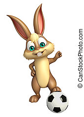 cute Bunny cartoon character  with football