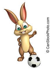 cute Bunny cartoon character  with football