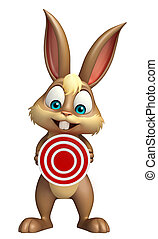 cute Bunny cartoon character with target sign