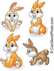 Cute bunny collection set isolated