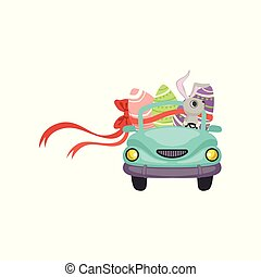 Cute bunny driving blue vintage car decorated with Easter eggs, funny rabbit character, Happy Easter concept cartoon vector Illustration