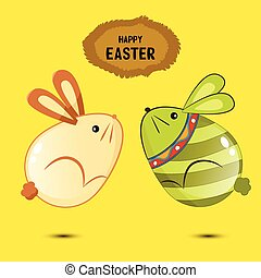 Cute bunny Easter eggs jumping