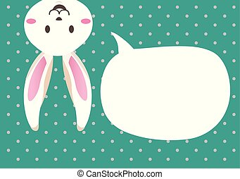 Cute bunny easter with speechbubble.