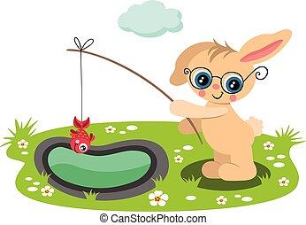 Cute bunny fishing a red fish in garden