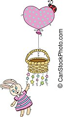 Cute bunny flying holding a basket with balloon and stars