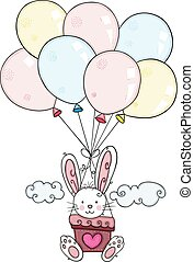 Cute bunny flying with balloons