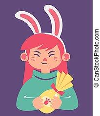 Cute Bunny Girl Holding a Heart