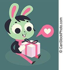 Cute Bunny Girl Holding a Present