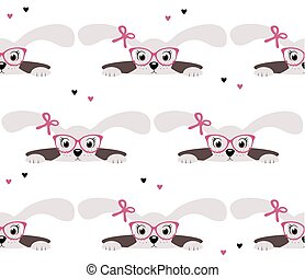 Cute bunny girl seamless pattern on white background