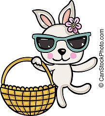 Cute bunny girl with glasses holding basket