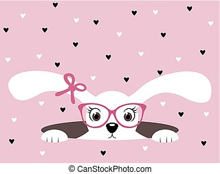 Cute bunny girl with glasses on pink heart background