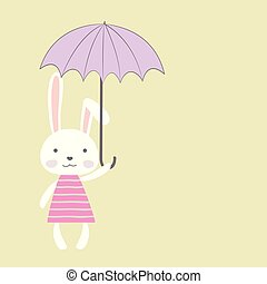 Cute bunny girl with umbrella, place for text