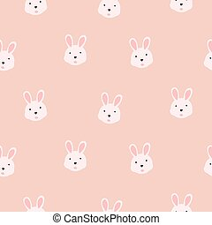 Cute bunny girlish pink seamless vector pattern.